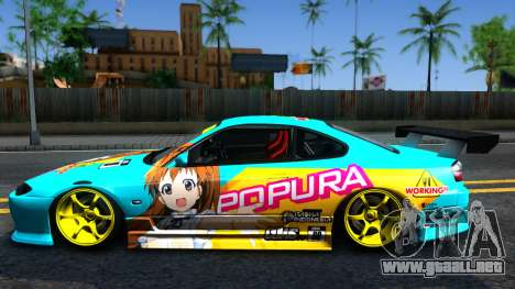 Taneshima Popura NISSAN Silvia S15 Itasha para GTA San Andreas left