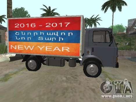 Zastava 640 Armenian para GTA San Andreas vista posterior izquierda