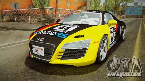 Audi R8 Coupe 4.2 FSI quattro US-Spec v1.0.0 v2 para vista inferior GTA San Andreas