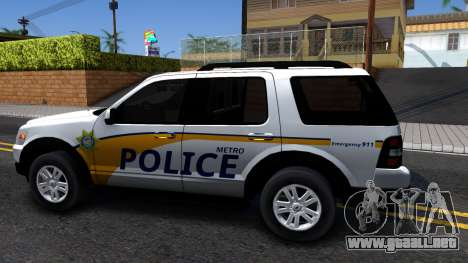 Ford Explorer Slicktop Metro Police 2010 para GTA San Andreas left