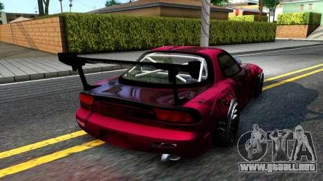 Mazda RX-7 Madbull Rocket Bunny para GTA San Andreas vista posterior izquierda