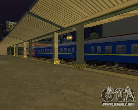 Compartimiento de coche Ferrocarriles de ucrania para GTA San Andreas vista hacia atrás