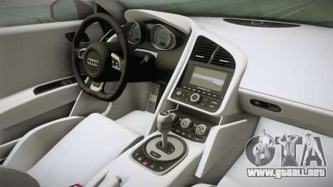 Audi R8 Coupe 4.2 FSI quattro US-Spec v1.0.0 YCH para visión interna GTA San Andreas