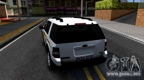 Ford Explorer Slicktop Metro Police 2010 para GTA San Andreas vista posterior izquierda