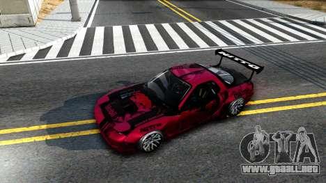Mazda RX-7 Madbull Rocket Bunny para GTA San Andreas vista hacia atrás