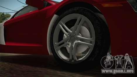 Audi R8 Coupe 4.2 FSI quattro US-Spec v1.0.0 YCH para GTA San Andreas vista hacia atrás