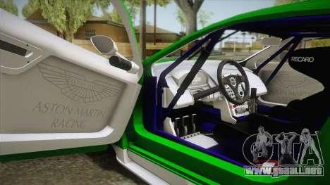 Aston Martin Racing DBR9 2005 v2.0.1 YCH Dirt para visión interna GTA San Andreas