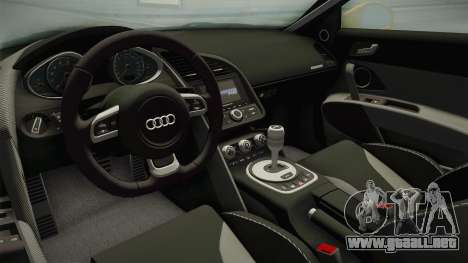 Audi R8 Coupe 4.2 FSI quattro US-Spec v1.0.0 para visión interna GTA San Andreas