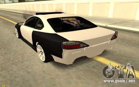 Nissan Silva S15 para GTA San Andreas vista posterior izquierda
