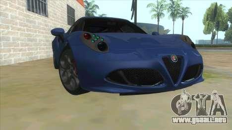 Alfa Romeo 4C para GTA San Andreas vista hacia atrás