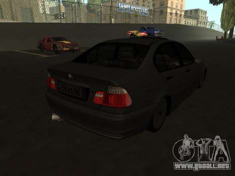 BMW 320i Armenian para GTA San Andreas vista posterior izquierda