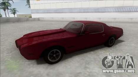 1970 Pontiac Firebird para la visión correcta GTA San Andreas