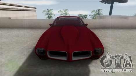 1970 Pontiac Firebird para GTA San Andreas vista hacia atrás