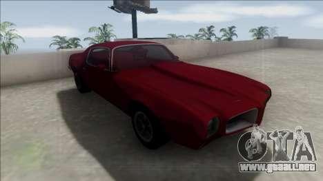 1970 Pontiac Firebird para visión interna GTA San Andreas