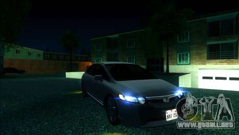 Honda Civic 2007 para GTA San Andreas vista hacia atrás