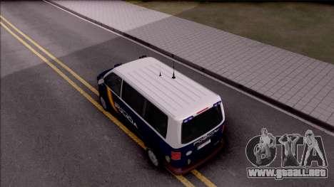 Volkswagen Transporter Spanish Police para GTA San Andreas vista hacia atrás