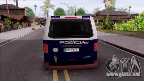 Volkswagen Transporter Spanish Police para GTA San Andreas vista posterior izquierda