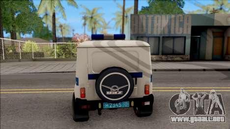 UAZ Hunter Policía para GTA San Andreas vista posterior izquierda
