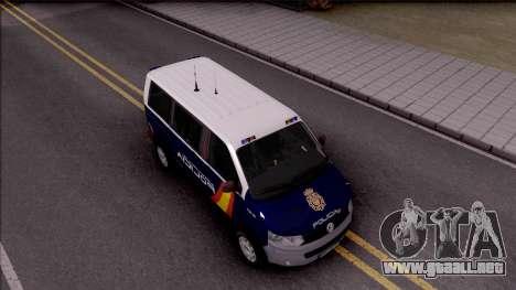 Volkswagen Transporter Spanish Police para la visión correcta GTA San Andreas
