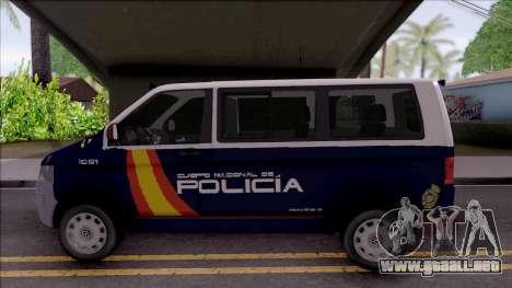 Volkswagen Transporter Spanish Police para GTA San Andreas left