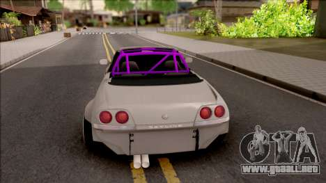 Nissan Skyline R33 Cabrio Drift Rocket Bunny para GTA San Andreas vista posterior izquierda