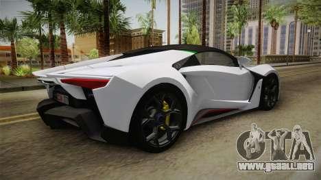 W Motors - Fenyr Supersports 2017 Dubai Plate para la visión correcta GTA San Andreas