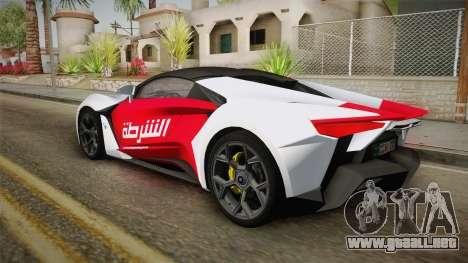 W Motors - Fenyr Supersports 2017 Dubai Plate para la vista superior GTA San Andreas