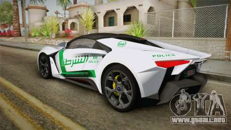 W Motors - Fenyr Supersports 2017 Dubai Plate para GTA San Andreas interior
