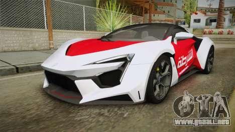 W Motors - Fenyr Supersports 2017 Dubai Plate para vista lateral GTA San Andreas