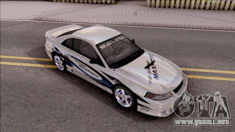 Ford Mustang Saleen 2000 IVF para vista inferior GTA San Andreas