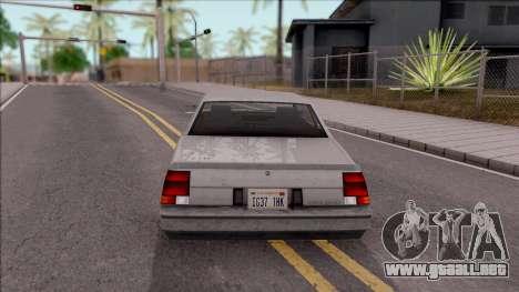 GTA IV Declasse Sabre para GTA San Andreas vista posterior izquierda