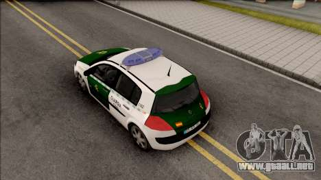 Renault Megane Guardia Civil Spanish para GTA San Andreas vista hacia atrás