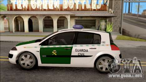 Renault Megane Guardia Civil Spanish para GTA San Andreas left