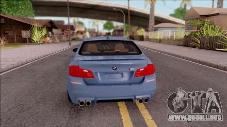 BMW M5 F10 Stock v1 para GTA San Andreas vista posterior izquierda