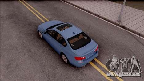 BMW M5 F10 Stock v1 para GTA San Andreas vista hacia atrás