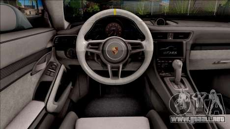 Porsche 911 GT3 RS 2016 SA Plate para visión interna GTA San Andreas