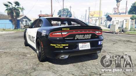 GTA 5 Dodge Charger RT 2015 Police v2.0 [replace] vista lateral izquierda trasera
