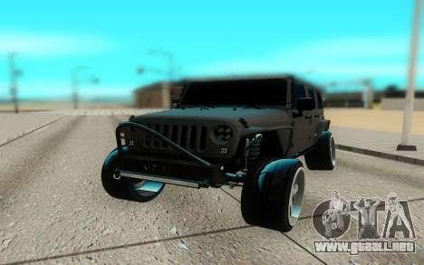 Jeep Rubicon 2012 V3 para GTA San Andreas vista hacia atrás