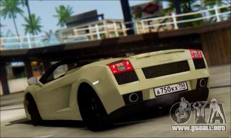 Lamborghini Gallaro 2005 Spyder para la visión correcta GTA San Andreas