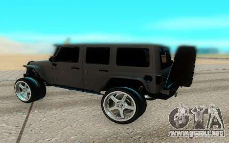 Jeep Rubicon 2012 V3 para GTA San Andreas vista posterior izquierda