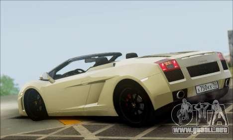 Lamborghini Gallaro 2005 Spyder para GTA San Andreas left