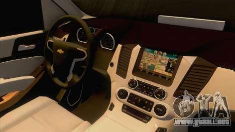 Chevrolet Suburban FBI 2015 para GTA San Andreas vista hacia atrás