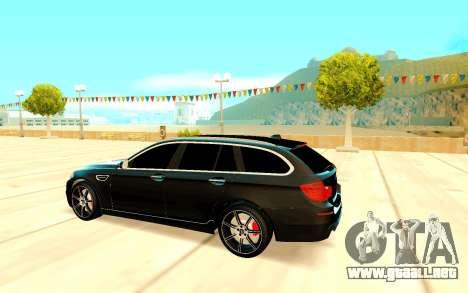 BMW M5 F11 para GTA San Andreas vista hacia atrás