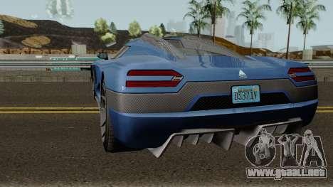 Overflod Entity XXR GTA V para GTA San Andreas vista posterior izquierda