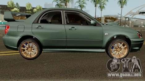 Subaru Impreza WRX STI 2004 Stock para GTA San Andreas vista hacia atrás
