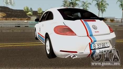 Volkswagen Beetle - Herbie 2013 para GTA San Andreas vista posterior izquierda
