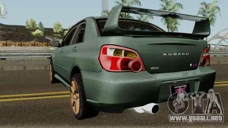 Subaru Impreza WRX STI 2004 Stock para GTA San Andreas vista posterior izquierda