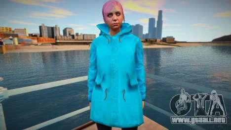 Chica en capa turquesa de GTA Online para GTA San Andreas